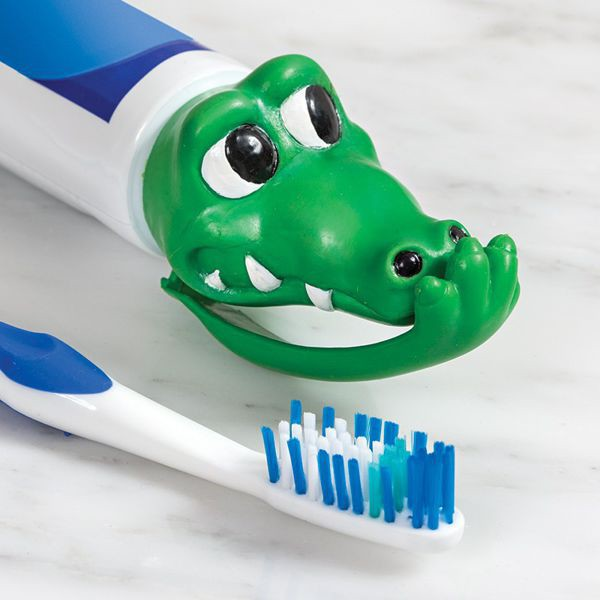 The cap on the<br> toothpaste -<br>crocodile
