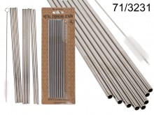 Metal drinking straws with a brush