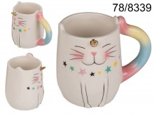 Unicorn cat mug with golden horn