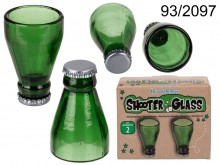 A set of two shot glasses - beer bottle