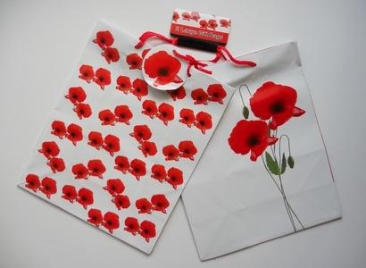 Geschenktaschen Mohnblumen L, 2-pack
