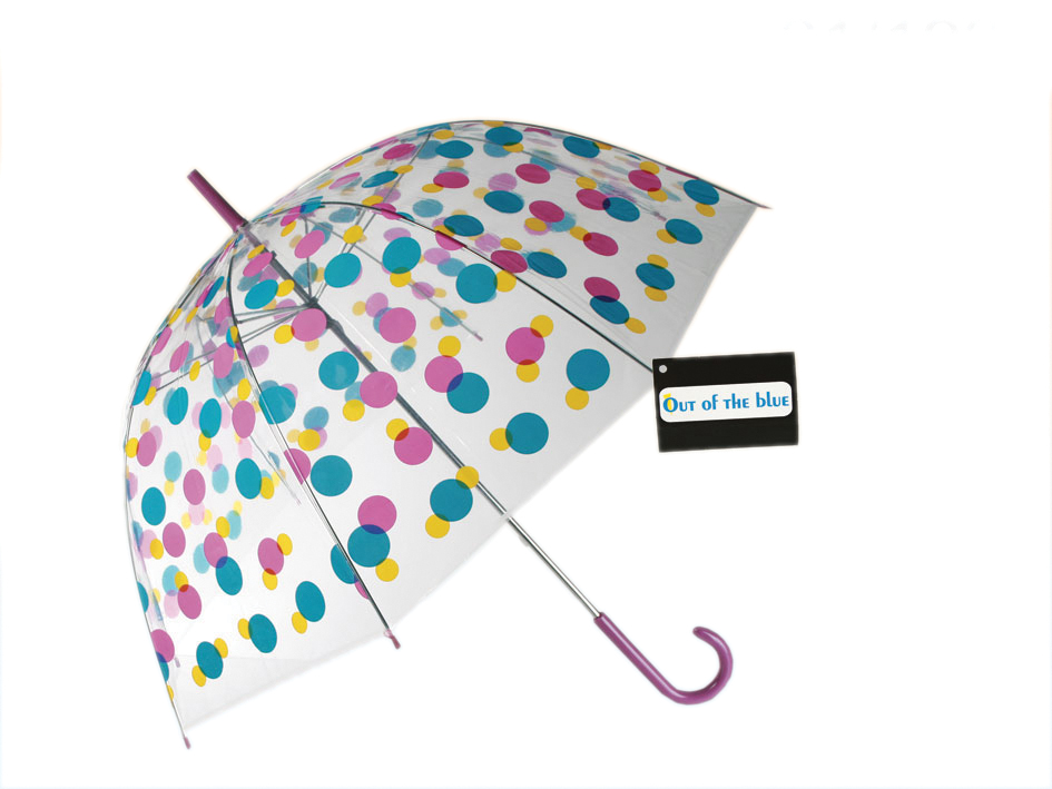 See Through<br> Umbrella -<br>Colorful Polka Dots
