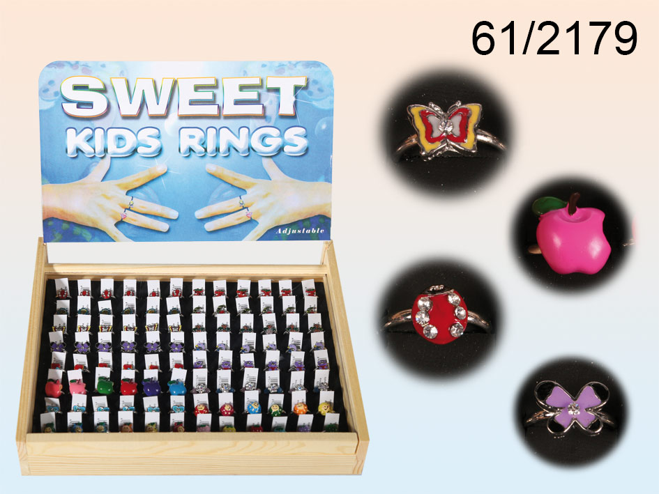 Children&#39;s<br> Rings Metal - 96<br>pieces + displ