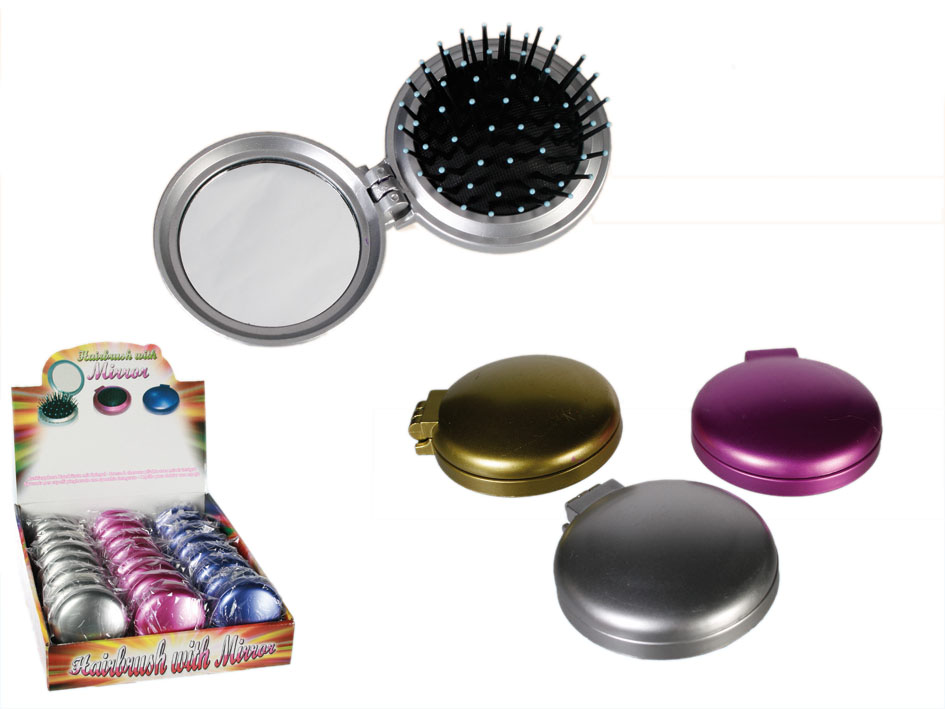 Compact Mirror<br>with a Hairbrush