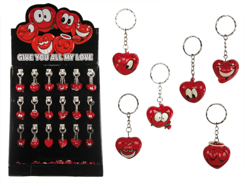Funny Face Heart<br>Keychain