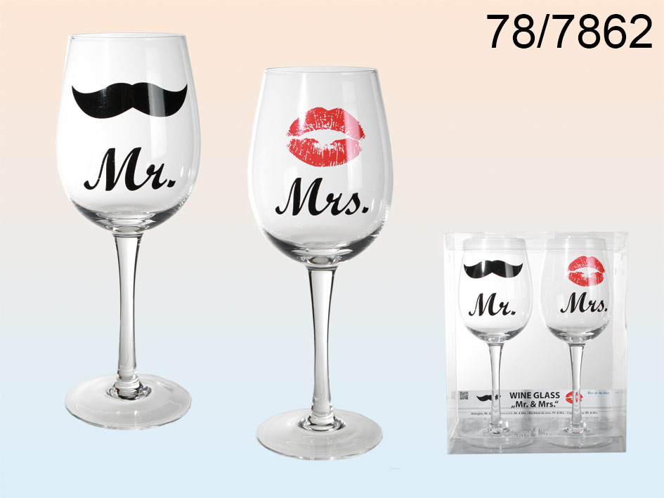 Wine glasses Mrs.<br>and Mr.