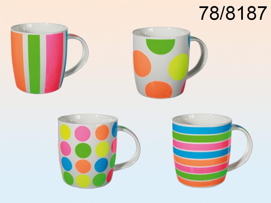 Porcelain cup neon<br>- 12 pieces