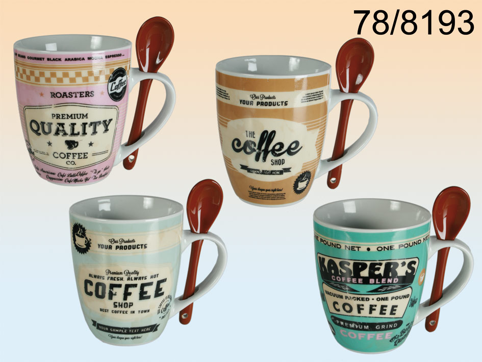 Retro mug with<br>spoon - 12 pieces