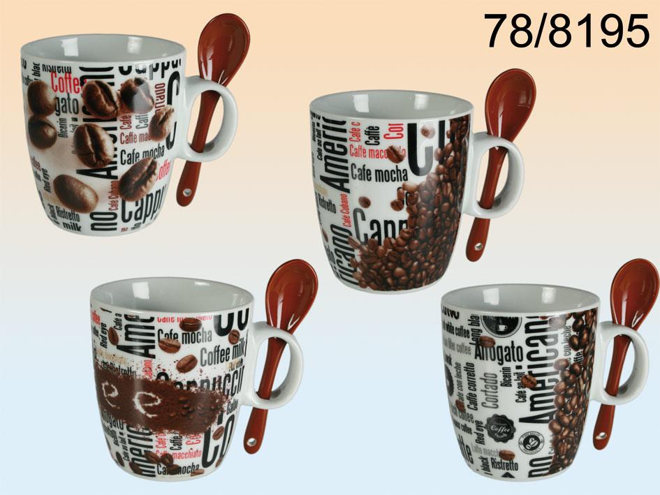 Kaffeebecher mit<br>Löffel - 12 Stück
