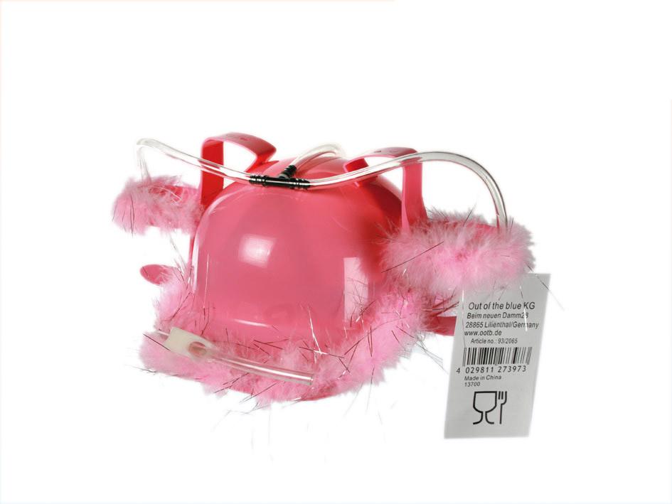 Bier-Helm mit rosa Fell