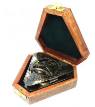 Triangular sundial with compass in a wooden box