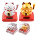 Fortune Cat Solar Figurine