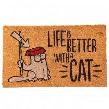 Simon's Cat Doormat - Life Is Better With A Cat