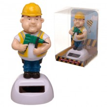 Solar figurine construction worker