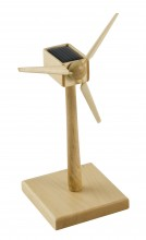 Wooden Wind Turbine with Solar Panel - 15 cm