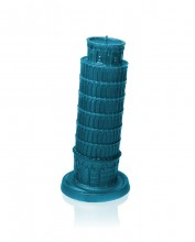 XXL Tower of Pisa Candle - Blue Metallic