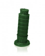 XXL Tower of Pisa Candle - Green Metallic