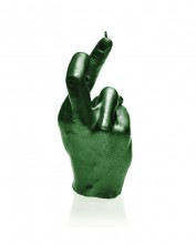 XXL Fingers Crossed Candle - Green Metallic