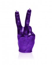 XXL Solidarity V Sign Candle - Metallic Purple