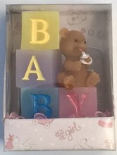 Baby Block with Teddy Bear Candle