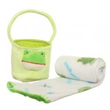 Plush Basket with a Blanket - Green