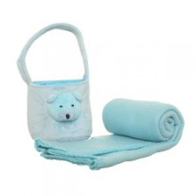 Plush Basket with a Blanket - Blue