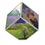 Rotating Cube Picture Frame (White)