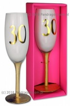 Birthday champagne glass in a carton - 30