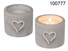 Candle in Cement Pot with Heart Decor