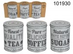 Set of Tin Boxes for Coffee, Tea and Sugar