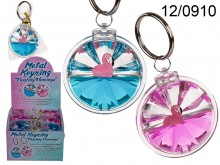Keychain with Liquid and Floating Flamingo