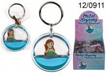 Keychain with Liquid and Floating Mermaid