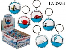 Keychain with Liquid and Floating Figurine