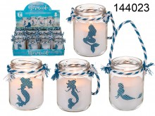 Candle in a Jar with Rope Handle - Mermaid Theme