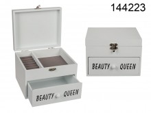 Wooden Storage Box with a Drawer - Beauty Queen