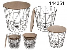 A set of three baskets / tables