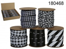 Fabric Ribbon - Black-and-white