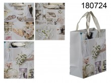 Wedding Gift Bag with Glitter (18 x 10 x 23 cm)