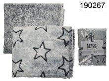 Comfort Blanket - Grey with Black Stars