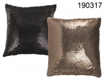 Decorative pillow black and beige sequins