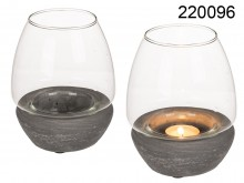 Hurricane Candle Holder with Cement Base