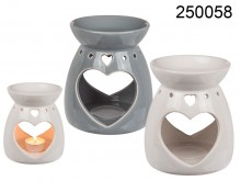 Ceramic Oil Burner with Heart Decor