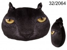 Cat Face Cushion - Black