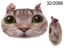 Cat Face Cushion - Light Brown