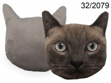 Cat Face Cushion - Dark Grey