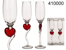 Champagne Glasses with Red Heart