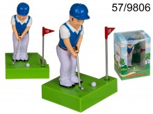 Golfer figurine with a solar battery