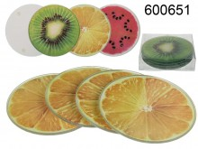 Glass Coasters (4 pieces) - Fruit Theme