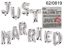 Set of 11 silver balloons - Just Married