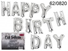 13 Silver Balloons - Happy Birthday